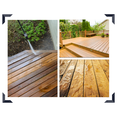 wood deck power washing and staining
